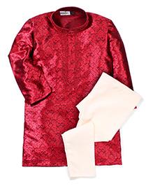 Babyhug Kurta And Pajama Set Self Design - Maroon White