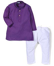 Babyhug Full Sleeves Stripe Kurta And Pajama - Purple White