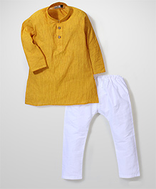 Babyhug Full Sleeves Kurta And Pajama - Yellow White