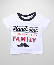 Babyhug Handsome Print Contrast Color Neckline T-Shirt - White