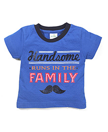 Babyhug Handsome Print Contrast Color Neckline T-Shirt - Royal Blue
