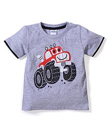 Babyhug Solid Color Car Print T-Shirt - Grey
