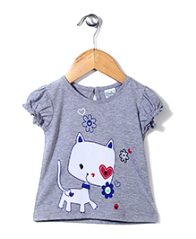 Babyhug Puff Sleeves Top Kitty Print - Grey