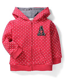 Fox Baby Hooded Heart Printed Sweat Jacket - Red