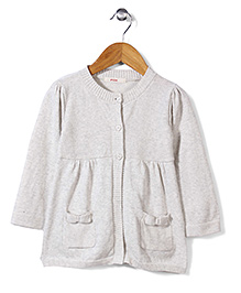 Fox Baby Front Open Cardigan - Off White