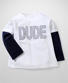 Fox Baby Fleece Dude Printed Doctor Sleeves T-Shirt - White