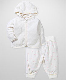 Fox Baby Fleece Jacket And Dotted Pant Set - Cream