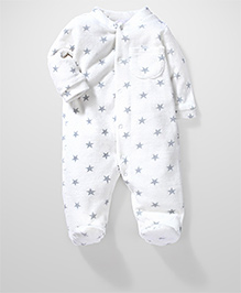 Fox Baby Fleece Star Printed Footed Rompers - White