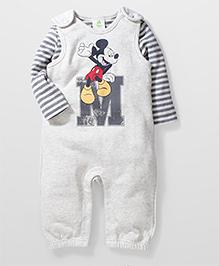 Fox Baby Full Sleeves Striped Onesies - Grey