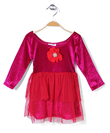 Kilkari Long Sleeves Net Layered Frock Floral Applique - Fuchsia
