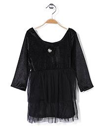 Kilkari Long Sleeves Net Layered Frock Floral Applique - Black
