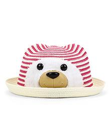 Babyhug Hat With Bear Face Design - Pink Cream