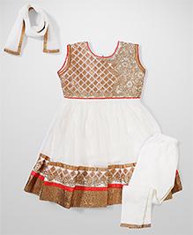Babyhug Sleeveless Ethnic Kurta & Churidar Set - Cream & Golden