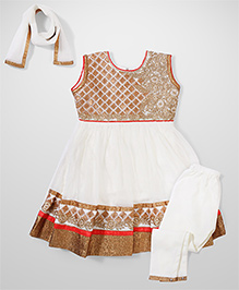 Babyhug Sleeveless Ethnic Kurta & Churidar Set - Cream & Golden