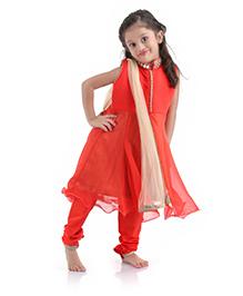 Babyhug Layered Anarkali Suit With Dupatta Mirror Work - Red