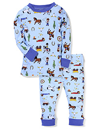 New Jammies Full Sleeves Night Suit - Sky Blue