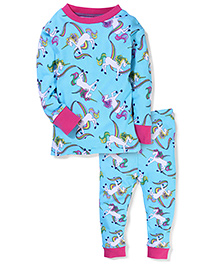New Jammies Full Sleeves Night Suit - Aqua Blue