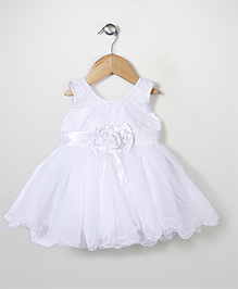 Babyhug Sleeveless Party Frock Flower Embroidery - Off White