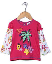 Babyhug Long Floral Printed Doctor Sleeves Top - Dark Pink