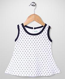 Babyhug Contrast Neckline Sleeveless Floral Print A Line Frock - White & Navy