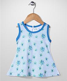 Babyhug Sleeveless A Line Frock Floral & Polka Dot Print - Blue And White