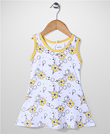 Babyhug Sleeveless A Line Frock Floral Print - Yellow And White