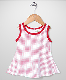 Babyhug Contrast Neckline Sleeveless Dotted A Line Frock - White & Red