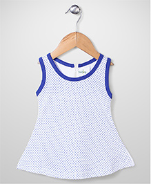 Babyhug Contrast Neckline Sleeveless Dotted A Line Frock - White & Royal Blue