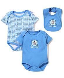 Babyhug Short Sleeves Onesie Set With Bib - Blue