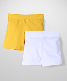 Babyhug Set of 2 Thigh Length Cycling Shorts - Yellow and White