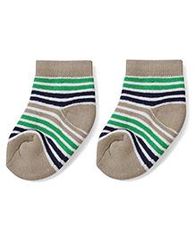 Cute Walk by Babyhug Stripes Ankle Length Socks - Beige