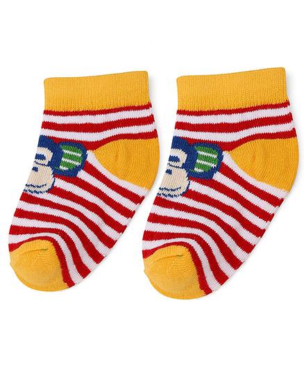 Cute Walk by Babyhug Stripe Socks Monkey Design - Yellow Red