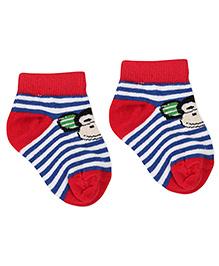Cute Walk by Babyhug Stripe Socks Monkey Design - Red Blue