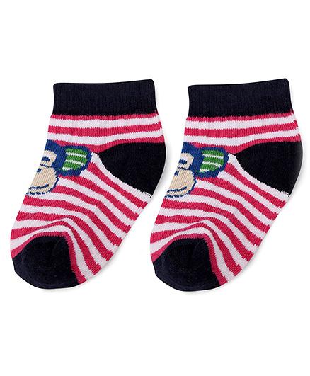 Cute Walk by Babyhug Stripe Socks Monkey Design - Pink Navy