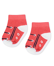 Cute Walk by Babyhug Ankle Length Socks - Off White & Coral
