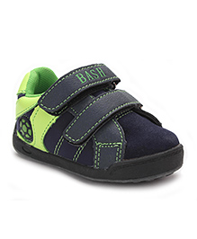 Bash Casual Shoes With Velcro Closure Football Motif - Navy Green