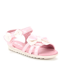 Bash Sandals With Velcro Closure Bow Appliques - Pink White