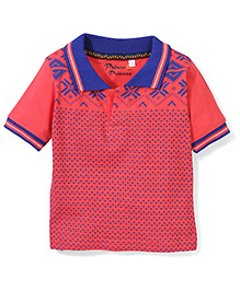 Prince And Princess Half Sleeves Printed T-Shirt - Coral
