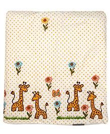 Cocobee Trendy Giraffe & Flower Design Blanket - Cream