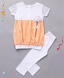 Babyhug Cap Sleeves Balloon Top And Leggings Set - White Orange