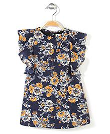 Pinehill Ruffle Sleeves Dress Floral Print - Navy Blue