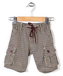 Pinehill Checkered Shorts With Drawstring - Brown