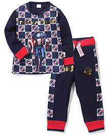Captain America Printed T-Shirt And Pant Set - Navy Blue