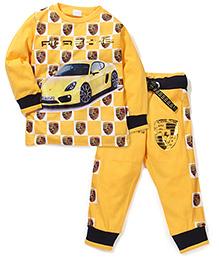 Tippy Full Sleeves T-Shirt And Pant Set Car Print - Yellow
