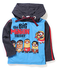 Minions Printed Hooded T-Shirt - Blue And Grey