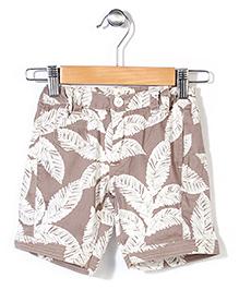 Pinehill Shorts Leaves Print - Light Brown And White
