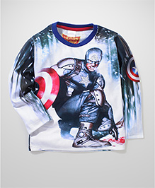 Captain America Printed Full Sleeves T-Shirt - White And Blue