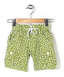 Pinehill Shorts With Drawstring Leaves Print - Green