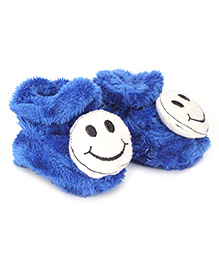 Cute Walk Booties Smiley Accent - Royal Blue And White