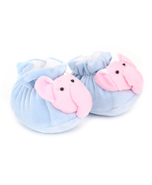 Cute Walk Booties Elephant Face Accent - Sky Blue Pink
